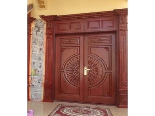 Hình ảnh cửa gỗ gõ đỏ 2 cánh